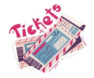Two tickets. Cartoon vector illustration. Event and travel concept. For web and print. Cinema, theatre, concert, air ticket stock illustration