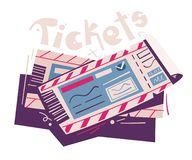 Two tickets. Cartoon vector illustration. Event and travel concept. For web and print. Cinema, theatre, concert, air ticket vector illustration