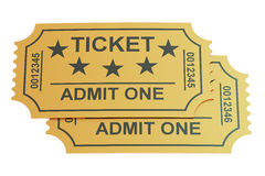 Two tickets, 3D rendering. On white background Stock Images