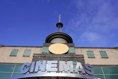 Metal Movie Marquee at Movie Theater. Chrome Movie Marquee at Movie Theater Stock Photography