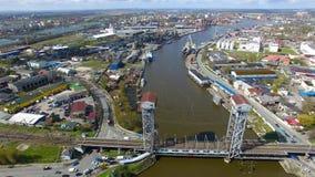 Two-tier bridge, Kaliningrad stock video footage
