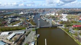 Two-tier bridge, Kaliningrad port stock video footage