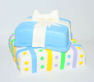 Two tier square present box cake Royalty Free Stock Images