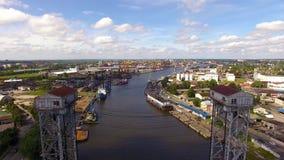 Two-tiered bridge in Kaliningrad stock video