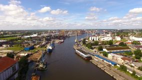 Two-tiered bridge in Kaliningrad stock video footage