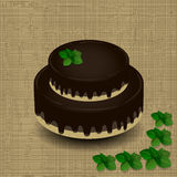 Two-tiered chocolate cake with a sprig of mint. On the texture background Stock Images