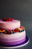 Two tiered purple cake with fruit on dark gray background Royalty Free Stock Images