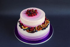 Two Tiered Purple Cake With Fruit On Dark Background