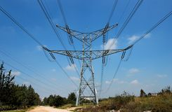 Two-tiered support of overhead power line Royalty Free Stock Photo