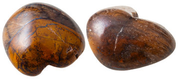 Two tiger eye's stone gemstones isolated Stock Photo