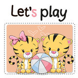 Two tigers with a ball. Two Cute Tigers with a ball on a pink background Stock Photos