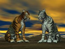Two tigers and cloudy sky Stock Photos
