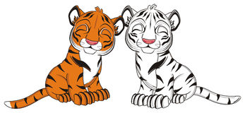 Two tigers dreams together Royalty Free Stock Image
