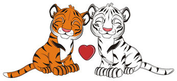 Two tigers with heart Stock Photography
