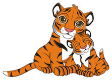 Two tigers sit together Royalty Free Stock Image