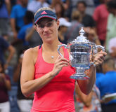 Two times Grand Slam champion Angelique Kerber of Germany during trophy presentation after her victory at US Open 2016 Stock Photo