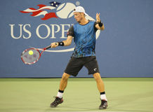Two times Grand Slam Champion Lleyton Hewitt of Australia in action during his last US Open match Stock Photos