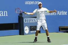 Two times Grand Slam Champion Lleyton Hewitt practices for US Open 2014 at Arthur Ashe Stadium Royalty Free Stock Images