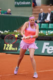 Two times Grand Slam champion Petra Kvitova in action during her second round match at Roland Garros Stock Photo