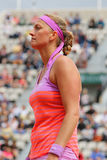 Two times Grand Slam champion Petra Kvitova in action during her second round match at Roland Garros 2015 Royalty Free Stock Image