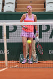 Two times Grand Slam champion Petra Kvitova in action during her second round match at Roland Garros 2015 Royalty Free Stock Photography