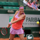 Two times Grand Slam champion Petra Kvitova in action during her second round match at Roland Garros 2015 Stock Photo