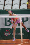 Two times Grand Slam champion Petra Kvitova in action during her second round match at Roland Garros 2015 Stock Image