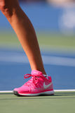 Two times Grand Slam champion Petra Kvitova wears custom Nike tennis shoes during match at US Open 2014 Stock Image