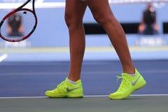 Two times Grand Slam champion Petra Kvitova wears custom Nike tennis shoes during US Open 2015 match Stock Images