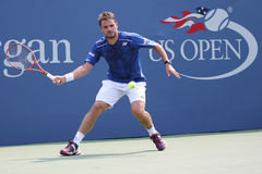 Two times Grand Slam champion Stanislas Wawrinka of Switzerland in action during his match at US Open 2015 Royalty Free Stock Images