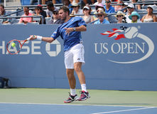 Two times Grand Slam champion Stanislas Wawrinka of Switzerland in action during his match at US Open 2015 Royalty Free Stock Photos