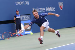 Two times Grand Slam champion Stanislas Wawrinka of Switzerland in action during his round four match at US Open 2015 Royalty Free Stock Photos