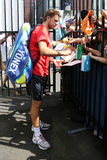 Two times Grand Slam champion Stanislas Wawrinka of Switzerland signing autographs after practice Royalty Free Stock Photography