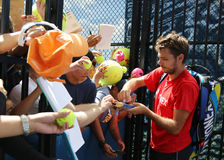 Two times Grand Slam champion Stanislas Wawrinka of Switzerland signing autographs after practice Stock Photos