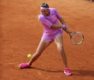 Two times Grand Slam champion Victoria Azarenka of Belarus in action during her second round match at Roland Garros. PARIS, FRANCE- MAY 28, 2015:Two times Grand Stock Photography