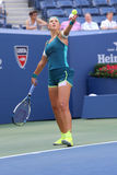 Two times Grand Slam champion Victoria Azarenka of Belarus in action during US Open 2015 fourth round match Stock Photos