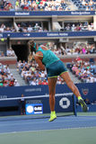 Two times Grand Slam champion Victoria Azarenka of Belarus in action during US Open 2015. NEW YORK - SEPTEMBER 5, 2015: Two times Grand Slam champion Victoria Royalty Free Stock Photo