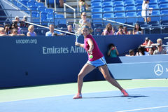 Two times Grand Slam champion Victoria Azarenka practices for US Open 2013 at Arthur Ashe Stadium at National Tennis Center Royalty Free Stock Images