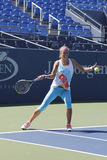 Two times Grand Slam champion Victoria Azarenka practices for US Open 2014 at Billie Jean King National Tennis Center Royalty Free Stock Images