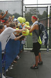 Two times Grand Slam champion Victoria Azarenka signing autographs after practice for US Open 2013 Stock Photo