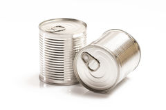Two tin cans isolated on white Stock Photo