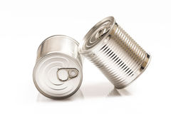 Two tin cans isolated on white Royalty Free Stock Photography