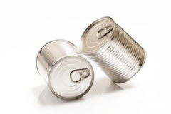 Two tin cans isolated on white Royalty Free Stock Photos