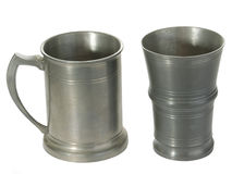 Two tin mugs Stock Images