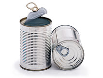 Two tins cans over white background Stock Photos