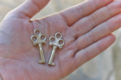 Two tiny keys in hand Stock Image