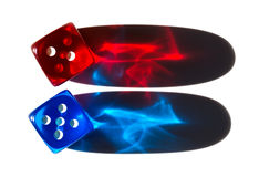Two tiny translucent plastic dice with long shadows stock illustration
