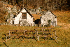 Two tipical chalet of Maggia valley Royalty Free Stock Photography