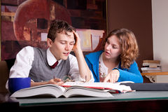 Two tired students Stock Photo