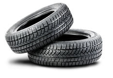 Two tires on the white background Royalty Free Stock Photos